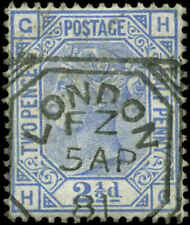 Great Britain Scott #82 Plate #21 Used  Date Cancel  4 Clear Margins