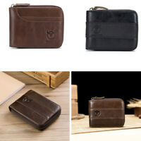 RFID BULLCAPTAIN Multifunction Men Wallet Genuine Leather Card Slots Coin Purse
