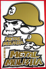 Arc Autocollant Sticker - 3 X Metal Mulisha Gross - 265 x 170 mm-Gold #m36