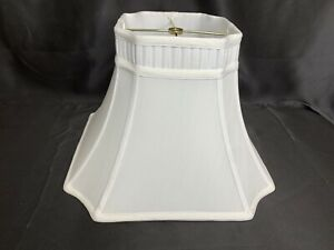 White Fabric Square Bell Lamp Shade 10.5 tall 7.5 top 15 bottom Cut Out Corners