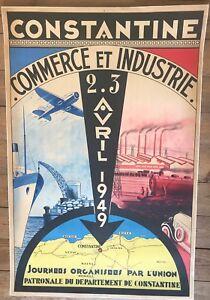 Original  poster Algeria   Constantine Commerce et Industrie 1949