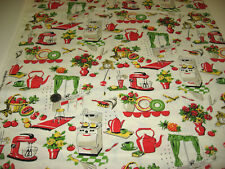 MICHAEL MILLER quilt-craft fabric RETRO 50'S KITCHEN creme 2 yds top seller