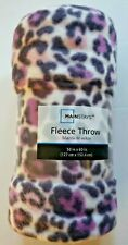 "Mainstay Purple Leopard Print Fleece Throw Blanket  50""x 60"" New!  Very Soft!"