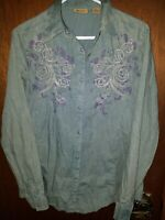 Wrangler Medium Shirt Pearl Snap Western Stone Washed Blue Embroidered Womens