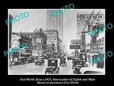 OLD LARGE HISTORIC PHOTO OF FORT WORTH TEXAS, VIEW OF 8th STREET c1925