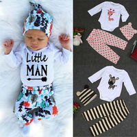 Newborn Baby Boys Girls Long Sleeve Deer Romper Top+Pants+Hat Outfits Set 2019