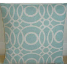 "NEW 24"" Cushion Cover Duck Egg Blue Ivory Circles Aqua Modern Retro"