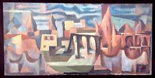 Large Vintage Mid Century Abstract Painting Cityscape Impasto