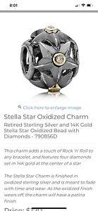Pandora (Retired) Stella Star Oxidized Charm Silver, 14k Gold & 5 Diamonds RARE