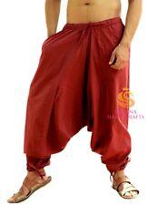 Indian Men's Cotton Maroon Harem Pants Trousers Beach Unisex Yoga Genie Pants