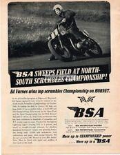 1967 BSA 650cc Hornet Motorcycle Ed Varnes Vtg Print Ad