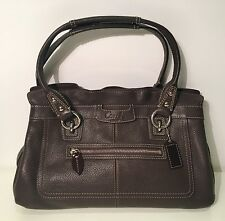 COACH Brown Pebbled Leather Penelope Shopping Tote Bag