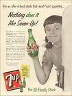 1955 Vintage ad  7-up retro Soda Bottle Green Girl Logo red refrigrator   092520