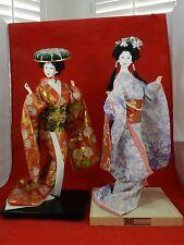 """Two Large Japanese Gofun Geisha Dolls Kimono Glass Eyes one Yahama 17"""""""