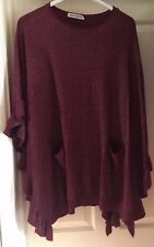 BNWT Beauty Women Burgundy Sparkle Poncho, Free Size - Fab!