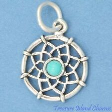 Native American Indian Dreamcatcher Turquoise .925 Sterling Silver Charm Pendant