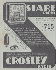 Y3564 Siare Radio - Crosley Radio - Pubblicità d'epoca - 1937 old advertising