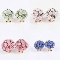 1 Pair Women Flower Crystal Rhinestone Ear Stud Elegant Fashion Earrings Jewelry