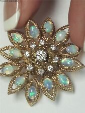 LA TRIOMPHE VINTAGE 18KT YELLOW GOLD OPAL AND DIAMOND BROOCH!!!