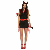 New Sexy Red & Black Devil Halloween Costume Outfit Fancy Dress Women Size 8-12