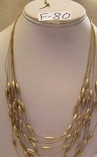 "Cold Water Creek Multi 9 Strand Barrel Bead Golden Wire Necklace Jewelry 18"" 21"""