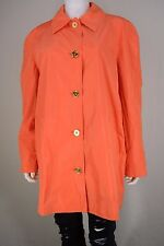NEW Ralph Lauren Travel Womens XL Orange Light Button Up Trench Coat Jacket NWT