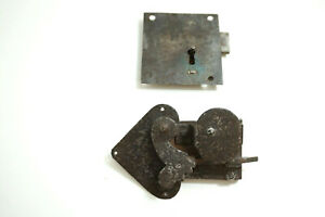 LOT OF 2 ANTIQUE STEEL DOOR LOCKS ~ 17TH CENTURY GOTHIC MEDIEVAL LOCK + OTHER