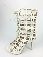 Womens Ladies White Faux Leather High Heel Lace Up Sandals Shoes Size UK 8 New