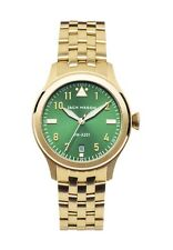 JACK MASON JM-A201-007 NWT Aviation Gold Tone Green Dial Women's Bracelet Watch