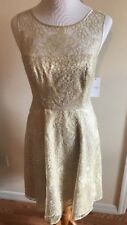 Jessica Simpson NEW Gold Womens Size 4 Lace Yoke Sheath Dress NWT $148
