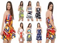 Ladies New Printed Bandeau Culotte Mini Playsuit Jumpsuit Beach Summer Plus Size