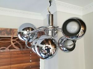 VTG MCM CHROME HANGING CEILING LAMP MID CENTURY MODERN CHANDELIER SPUTNIK ATOMIC