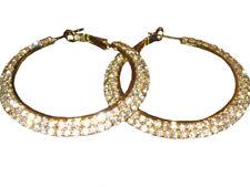 Womens Wide Hoop Earrings Sparkle Diamante Gold Ladies Girls NEW