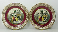 Adams - CRIES OF LONDON - PAIR OF SAUCERS - PURPLE BAND WITH LEDA BORDER