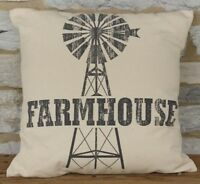 "FARMHOUSE WINDMILL Pillow 17"" Square Black Natural Rustic Country Primitive"