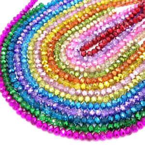 Hot plated Crystal Glass Rondelle Faceted Loose Spacer Beads 2mm3mm4mm6mm8mm10mm