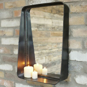 Industrial Wall Mirror With Shelf Candle Display Black Metal Rectangle Frame