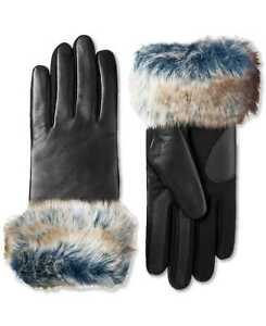 Isotoner Womens SleekHeat Stretch Leather Touchscreen Gloves with Faux-Fur Cuff