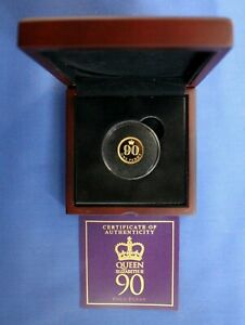 """2016 Jersey 9ct Gold Proof Penny coin """"Queen's 90th"""" in Case with COA"""