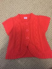 Girls Red Knitted Short Sleeve Cardigan F&F