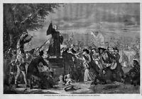 WHITEFIELD PREACHING IN MOORFIELDS A.D. 1742 CHRISTIANITY 1865 HARPER'S WEEKLY