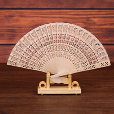 Chinese Vintage Wooden Bamboo Folding Hand Fan Wedding Party Flower Pattern