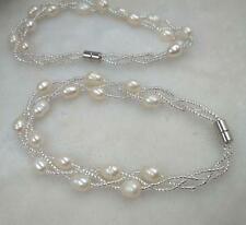 wholesale 10 Pieces 3lines rice freshwater pearl bracelets Free shipping