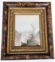 Exquisite Antique Chalk Scenic Drawing On Wood Mounted In Antique Frame