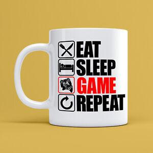 Eat Sleep Spiel Wiederholung Becher Mlg Konsole PC 284ml Keramik Kaffee Teetasse