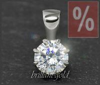 Brillant Damen 585 Gold Diamant Anhänger mit 1,01ct, Top Wesselton, Si; Weißgold