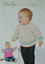 KNITTING PATTERN Childrens Long Sleeve Striped Jumpers DK Peter Pan 1180