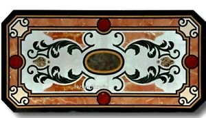 18 x 36 Inches Marble Inlay Coffee Table Top with Unique Design Center Table Top