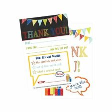 25 Rainbow Banner Kids Thank You Cards, Fill In Thank You Notes For Kid, Blan.