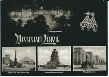 """Ansichtskarte Leipzig """"Hauptbahnhof, Völkerschlachtdenkmal, Oper"""" schwarz/weiß"""